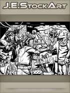 JEStockArt - SciFi - Space Pirates Arguing With Merchant In Bazaar - IWB