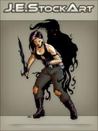 JEStockArt - Supernatural - Shadow Warrior Woman With Dark Blade - CNB