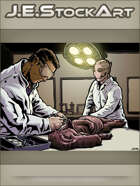 JEStockArt - SciFi -  Biologist Disects Snouted Creature With Robot Assistant - CWB