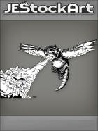 JEStockArt - Fantasy - Humming Bird Dragon Spews Flames From Belly - INB