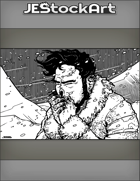 JEStockArt - Fantasy - Dark Haired Man In Fur Coat With Frostbite In Blizzard - IWB