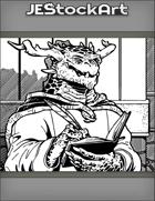 JEStockArt - Fantasy - Dark Scaled Dragon Scribe With Writing Utensil Near Wall - IWB