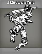 JEStockArt - SciFi - Jumping Transforming Robot Ninja With Sword - INB