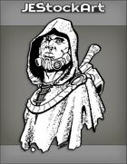 JEStockArt - PostA - Scarred Cybernetic Human With Missing Eye In Hood - INB