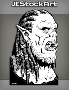 JEStockArt - Fantasy - Yelling Tusked Orc Face With Pierced Ear And Dreads - INB