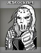 JEStockArt - Superhero - Hooded Man In Weathered Hockey Mask And Gloves - INB
