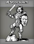 JEStockArt - Fantasy - Satyr Gladiator Yelling And Holding Severed Giant Head - INB