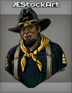 JEStockArt - Western - Middle Aged Buffalo Soldier With Dark Vestment In Hat - CNB