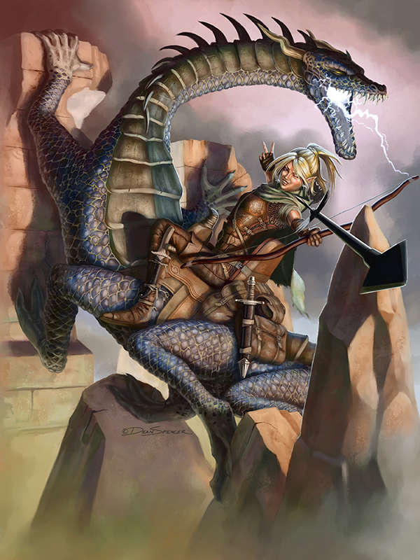 Dragon Hunter on Behir Mount - full page