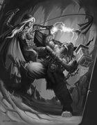Cover full page - Drow vs Dwarf black & white - RPG Stock Art