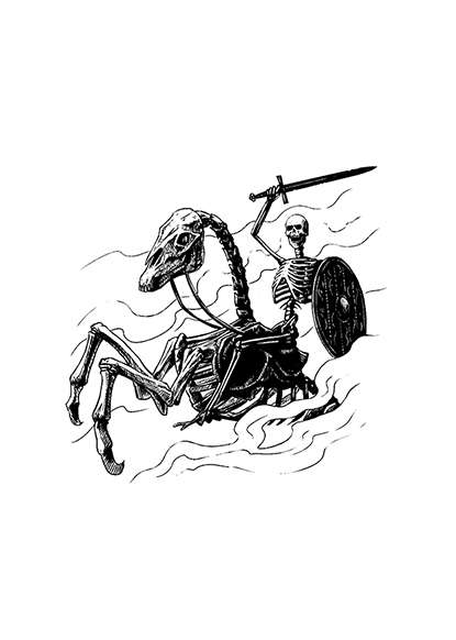 Filler spot - character: skeleton rider - RPG Stock Art - Dean Spencer Art    Filler Spot Line Art   DriveThruRPG com