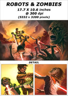 Cover full page - Robots vs Zombies - RPG Stock Art