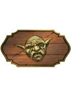 Filler spot colour - icon: tavern sign with goblin face - RPG Stock Art