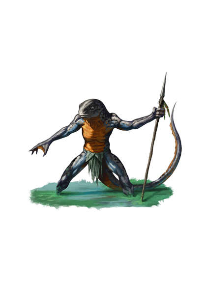 Filler spot colour - humanoid newt with spear - RPG Stock Art