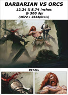 Cover full page - Barbarian vs Orcs - RPG Stock Art