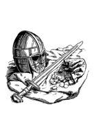 Filler spot - items: saxon helm, sword and coins - RPG Stock Art