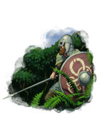 Filler spot colour - character: saxon with spear and shield - RPG Stock Art