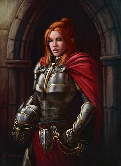 Quarter Page Female Knight Human Rpg Stock Art Dean Spencer Art Quarter Page Colour Drivethrurpg Com