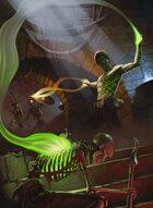 Quarter page - Tattooed Sorcerer Battle - RPG Stock Art