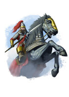 Filler spot colour - character: mongal rider with spear - RPG Stock Art