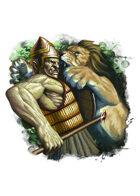 Filler spot colour - event: half troll vs lion - RPG Stock Art