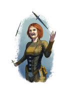 Filler spot colour - character: rogue juggling daggers - RPG Stock Art