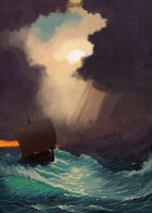 Cover full page - Trouble at Sea: Storm Clouds & Drakkar - RPG Stock Art