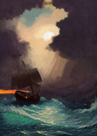 Cover full page - Trouble at Sea: Storm Clouds & Ship - RPG Stock Art
