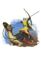Filler spot colour - character: camel rider with bow - RPG Stock Art