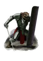Filler spot colour - character: ratman in mithril armour - RPG Stock Art