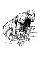 Filler spot - character: kobold guarding treasure - RPG Stock Art