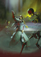 Cover full page - Cleric Destroying Skeletons- RPG Stock Art