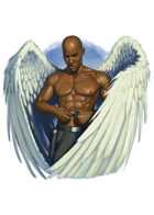 Filler spot colour - character: winged man - RPG Stock Art