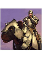 Colour card art - character: knight riding panther - RPG Stock Art