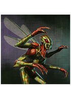 Colour card art - character: humanoid insect - RPG Stock Art