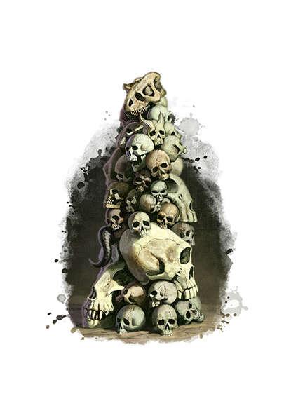 Filler spot colour - items: skull pillar - RPG Stock Art