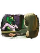 Filler spot colour - character: cobra serpent business woman- RPG Stock Art