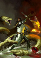 Cover full page - Aasimar VS Hydra - RPG Stock Art