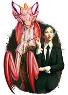 Filler spot colour - character: business woman with giant mantis - RPG Stock Art