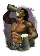 Filler spot colour - character: barbarian drinking - RPG Stock Art
