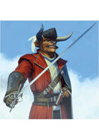 Colour card art - character: minotaur swashbuckler - RPG Stock Art