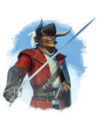 Filler spot colour - character: minotaur swashbuckler - RPG Stock Art
