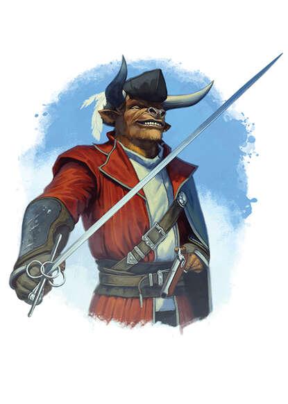 Filler spot colour - character: minotaur swashbuckler - RPG Stock Art