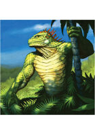 Colour card art - character: lizardman druid - RPG Stock Art