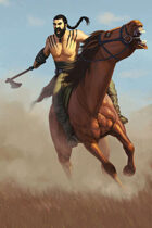 Quarter page - barbarian horse lord - RPG Stock Art