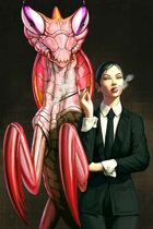 Quarter page - business woman with giant mantis - RPG Stock Art