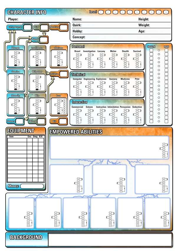 Era: The Empowered Character Sheet - Shades of Vengeance