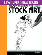 B&W Super Hero Stock Art #1