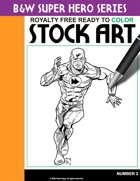 B&W Super Hero Stock Art #2