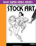 B&W Super Hero Stock Art #3